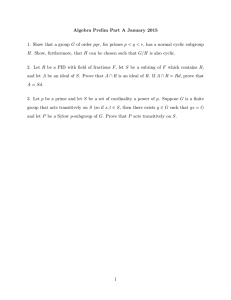 Algebra Prelim Part A January 2015