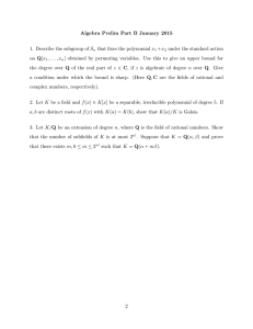 Algebra Prelim Part B January 2015 that fixes the polynomial x