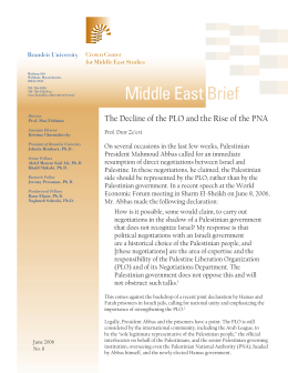 An analysis of the role of the palestine liberation organization in palestine