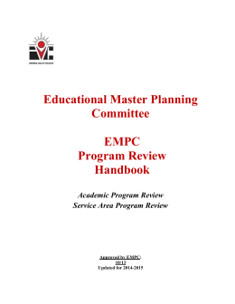 Educational Master Planning Committee EMPC Program Review