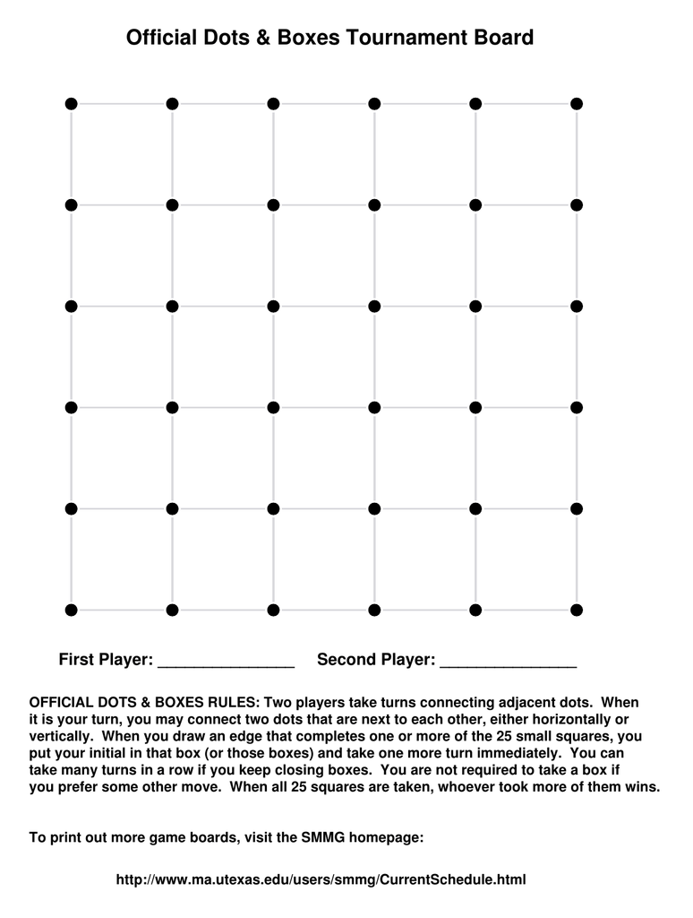 Official Dots Boxes Tournament Board