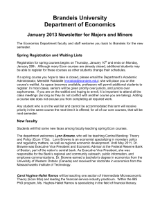Brandeis University Department of Economics January 2013 Newsletter for Majors and Minors