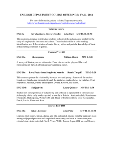 ENGLISH DEPARTMENT COURSE OFFERINGS:  FALL 2014