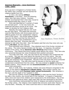 American Biography – Anne Hutchinson (1591 -1643)