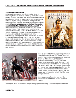CHA 3U – The Patriot Research & Movie Review Assignment