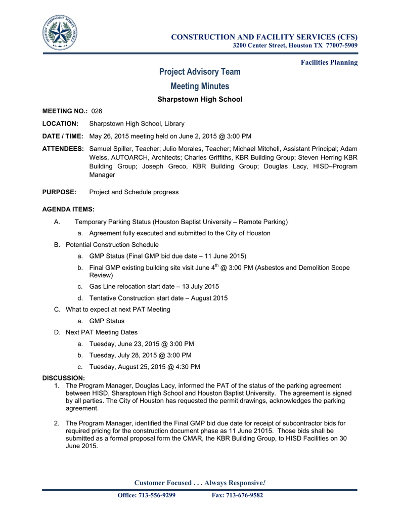 Project Advisory Team Meeting Minutes Construction And Facility Services Cfs