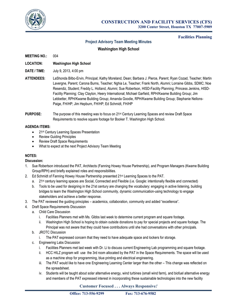 construction and facility services cfs project advisory team