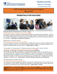 """ESSENTIALS FOR SUCCESS"" Develop yourself… CUNY Professional Development Program March 2016"