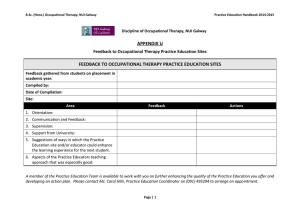 APPENDIX U FEEDBACK TO OCCUPATIONAL THERAPY PRACTICE EDUCATION SITES