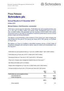 Schroders plc Press Release Annual Results to 31 December 2014*