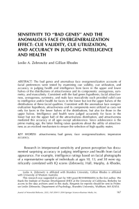 SENSITIVITY TO ''BAD GENES'' AND THE ANOMALOUS FACE OVERGENERALIZATION