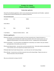 Westlake City Schools Citizens Advisory Committee  Membership Application