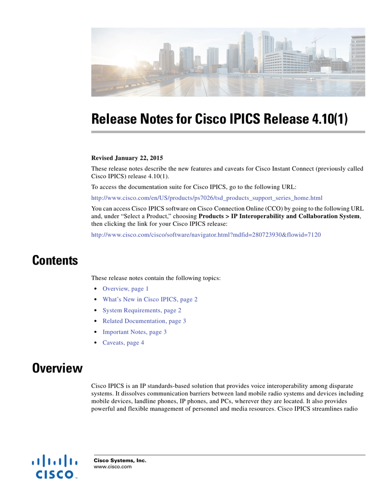 Release Notes for Cisco IPICS Release 4 10(1)