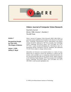 Videre: Journal of Computer Vision Research Article 1 Quarterly Journal