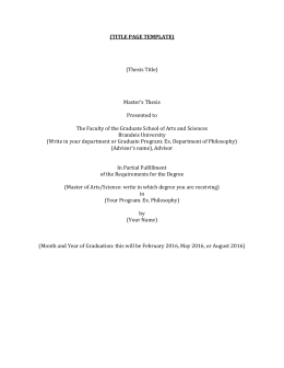 (TITLE PAGE TEMPLATE)  (Thesis Title) Master's Thesis