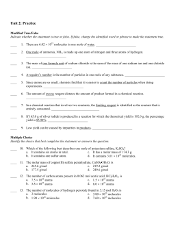 The Mole Concept Worksheet