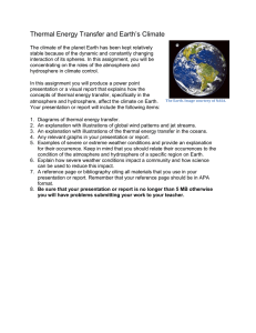 Thermal Energy Transfer and Earth's Climate