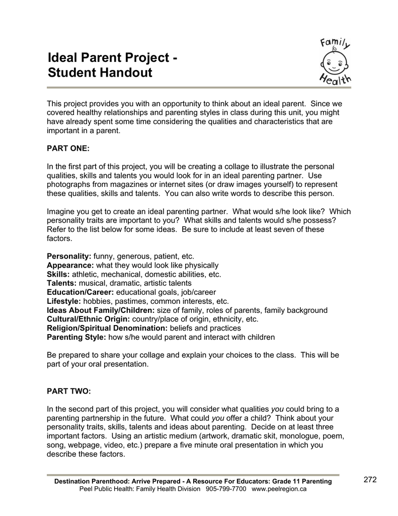 ideal parent project - student handout, Powerpoint templates