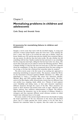 Mentalizing problems in children and adolescents Chapter 2 Carla Sharp and Amanda Venta
