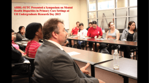 AHRL-SUTC Presented a Symposium on Mental UH Undergraduate Research Day 2015