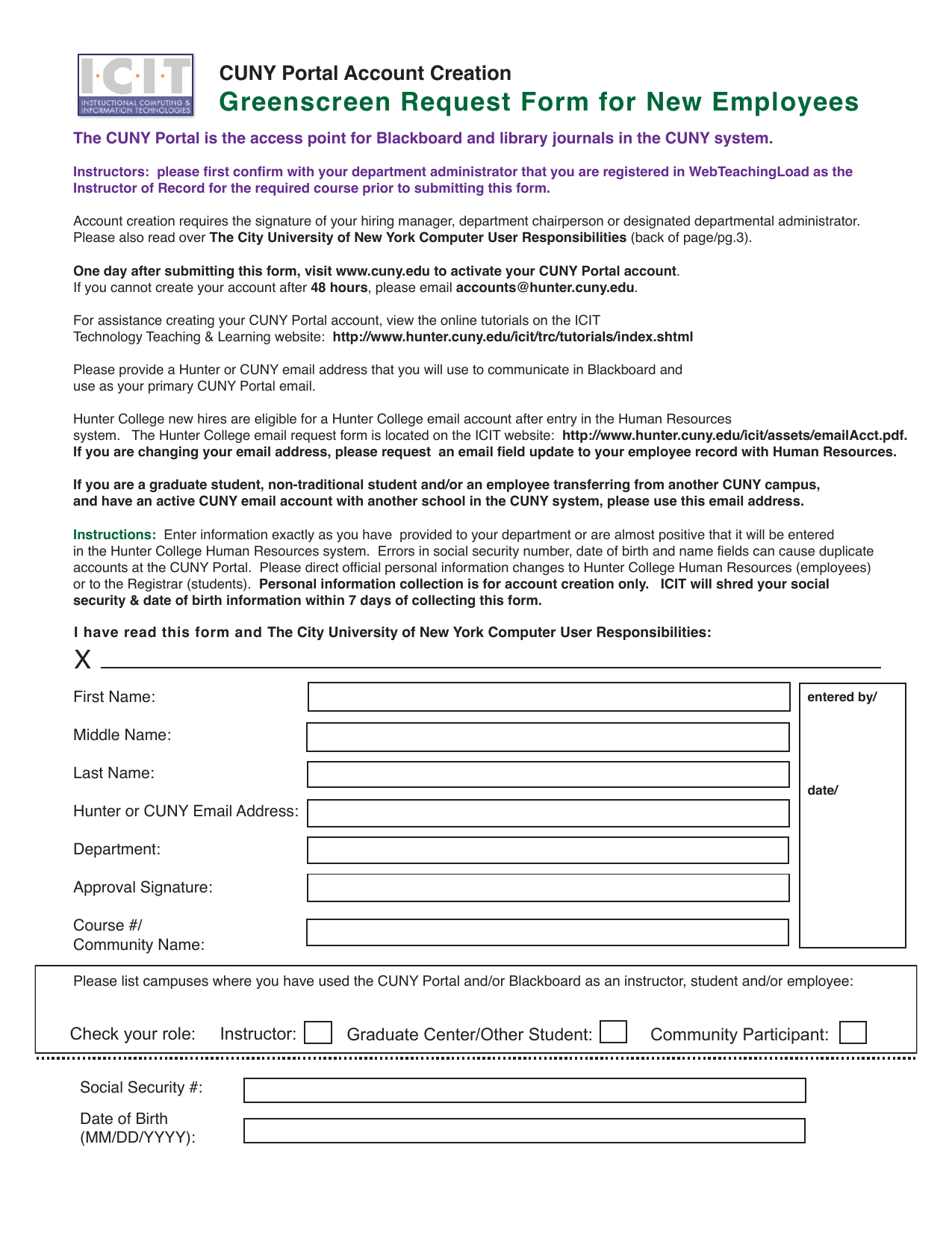 Greenscreen Request Form for New Employees CUNY Portal Account Creation