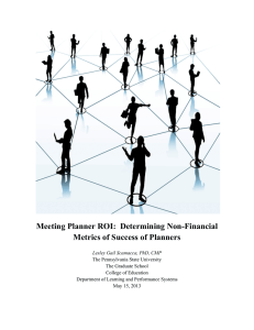 Meeting Planner ROI:  Determining Non-Financial Metrics of Success of Planners