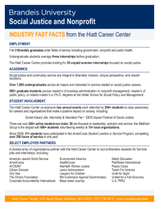 Social Justice and Nonprofit INDUSTRY FAST FACTS  from the Hiatt Career Center