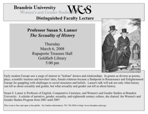 Distinguished Faculty Lecture Professor Susan S. Lanser The Sexuality of History Thursday