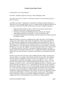 Literature Review by Laura Hymson Mujerista Theology. Feminist Sexual Ethics Project