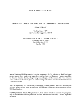 NBER WORKING PAPER SERIES Gilbert E. Metcalf