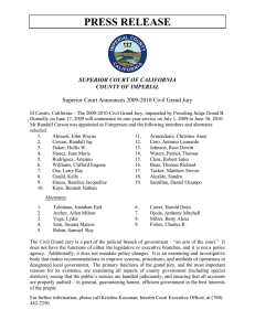PRESS RELEASE SUPERIOR COURT OF CALIFORNIA COUNTY OF IMPERIAL