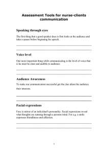 Assessment Tools for nurse-clients communication  Speaking through eyes