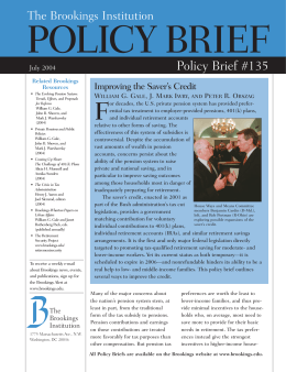 POLICY BRIEF F Policy Brief #135 The Brookings Institution