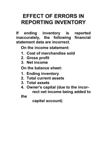 EFFECT OF ERRORS IN REPORTING INVENTORY