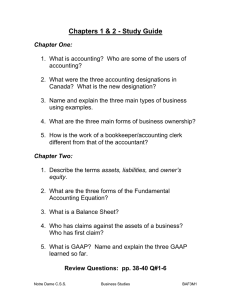 Chapters 1 & 2 - Study Guide