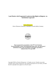 Land Market with Fragmented Landownership Rights in Bulgaria: An Institutional Approach
