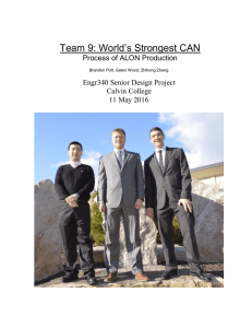 Team 9: World's Strongest CAN Process of ALON Production Calvin College