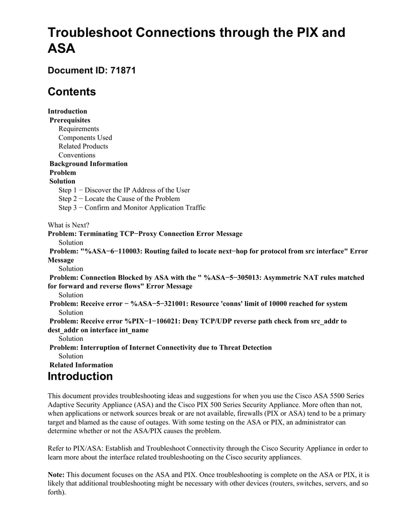 Troubleshoot Connections through the PIX and ASA Contents Document