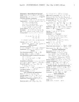 final 01 – JYOTHINDRAN, VISHNU – Due: May 14 2007,... 1 Mechanics - Basic Physical Concepts Math: