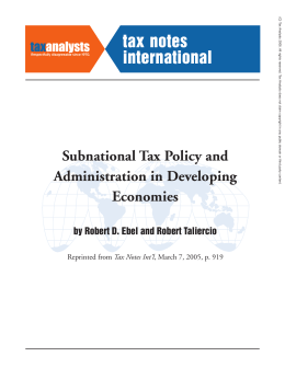 Subnational Tax Policy and Administration in Developing