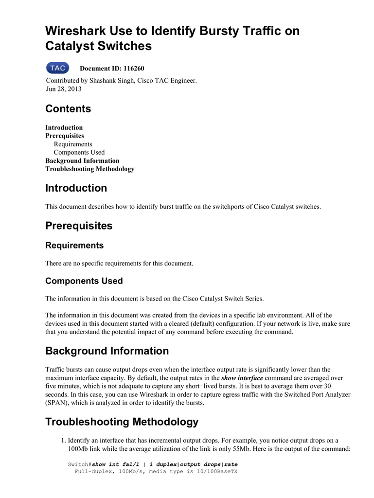 Wireshark Use to Identify Bursty Traffic on Catalyst