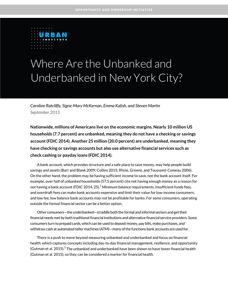 Where Are the Unbanked and Underbanked in New York City?