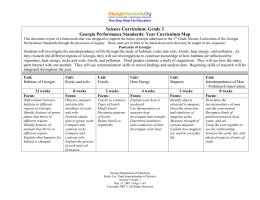 Science Curriculum: Grade 3 Georgia Performance Standards: Year Curriculum Map