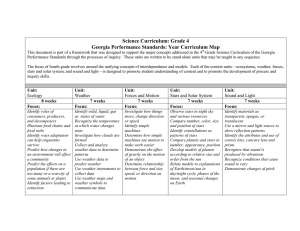 Science Curriculum: Grade 4 Georgia Performance Standards: Year Curriculum Map