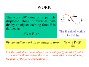 WORK The work dW done on a particle displaced along differential path