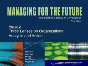Three Lenses on Organizational Analysis and Action Module 2