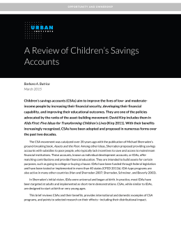 A Review of Children's Savings Accounts