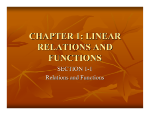 CHAPTER 1: LINEAR RELATIONS AND FUNCTIONS SECTION 1