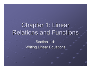 Chapter 1: Linear Relations and Functions Section 1 -