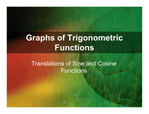 Graphs of Trigonometric Functions Translations of Sine and Cosine